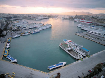Piraeus port in Athens - Greek island ferries
