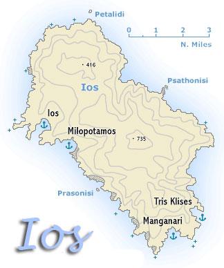 ios greece - map. Ios Hotels